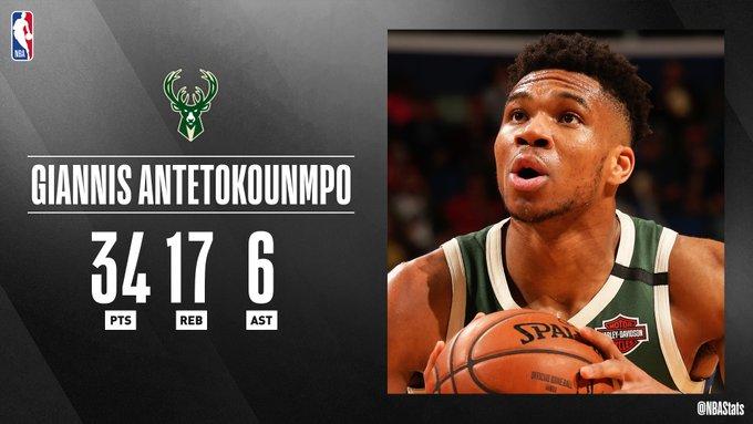 NBA官方评选最佳数据:字母哥34分17板6助攻当选