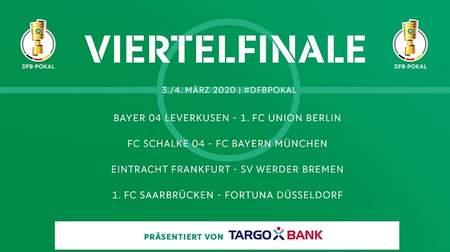 德国杯八强对阵:沙尔克对阵拜仁,勒沃库森踢柏林联合