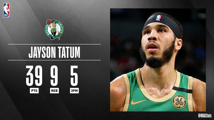 NBA官方评选最佳数据:塔特姆39分9篮板5三分当选