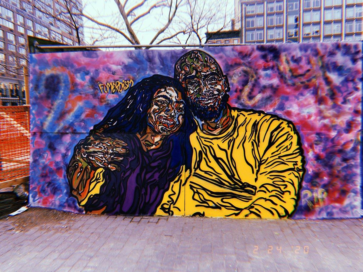 尼克斯官推晒出科比与Gigi室外纪念涂鸦画:永存于世