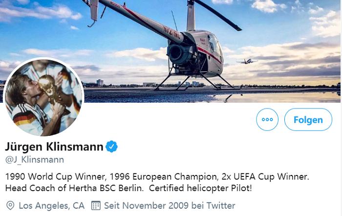 """还没改呢?克林斯曼推特介绍仍是柏林赫塔主帅"""""""
