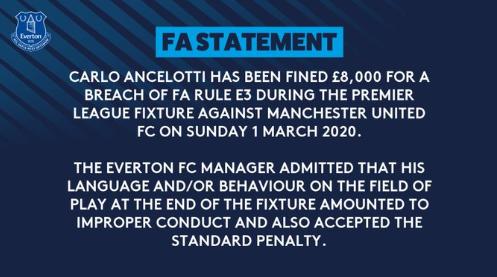 官方:安切洛蒂被罚款8000英镑,未收到禁赛处罚