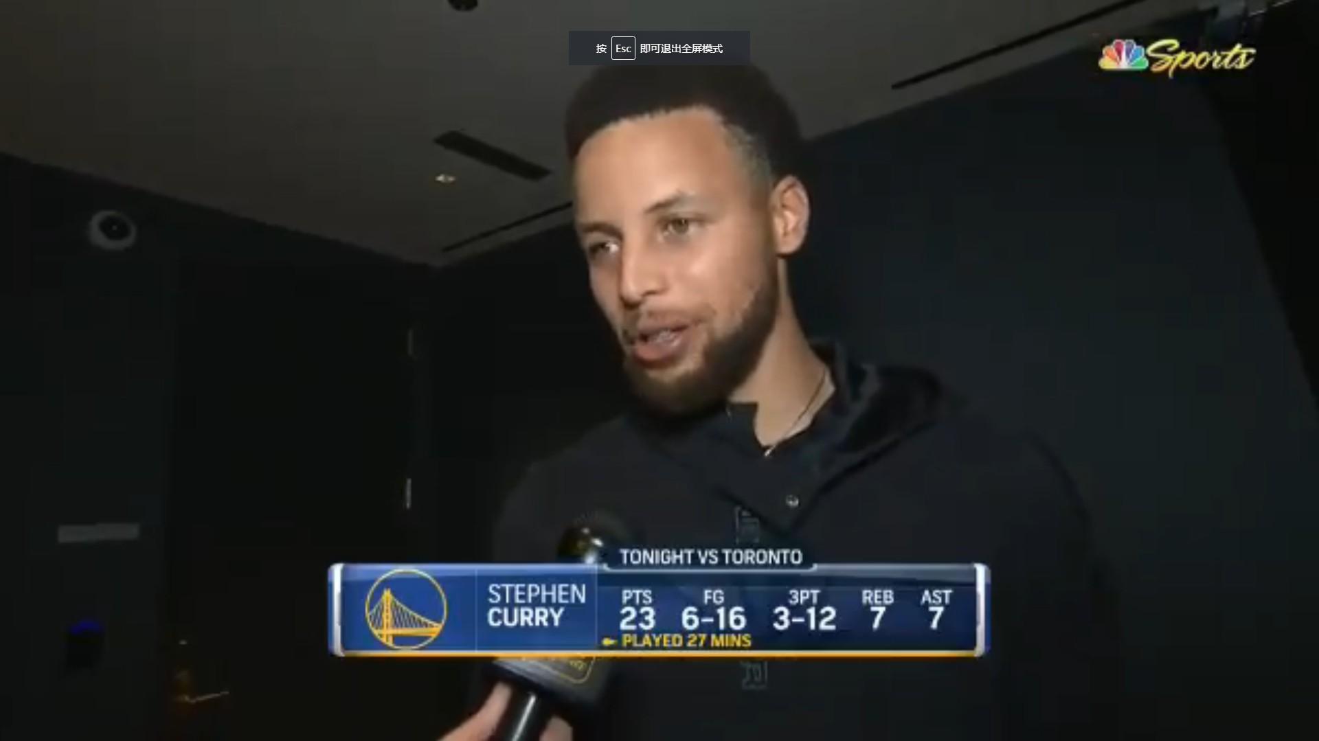 库里:比赛中没考虑手部情况,回归赛场感觉很棒