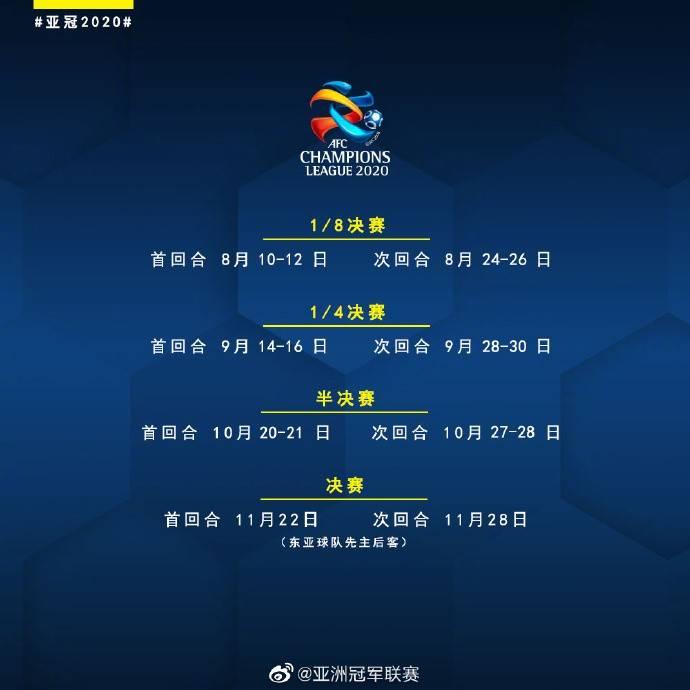 官方:亚冠淘汰赛赛程再更新,决赛首回合11月22日举行