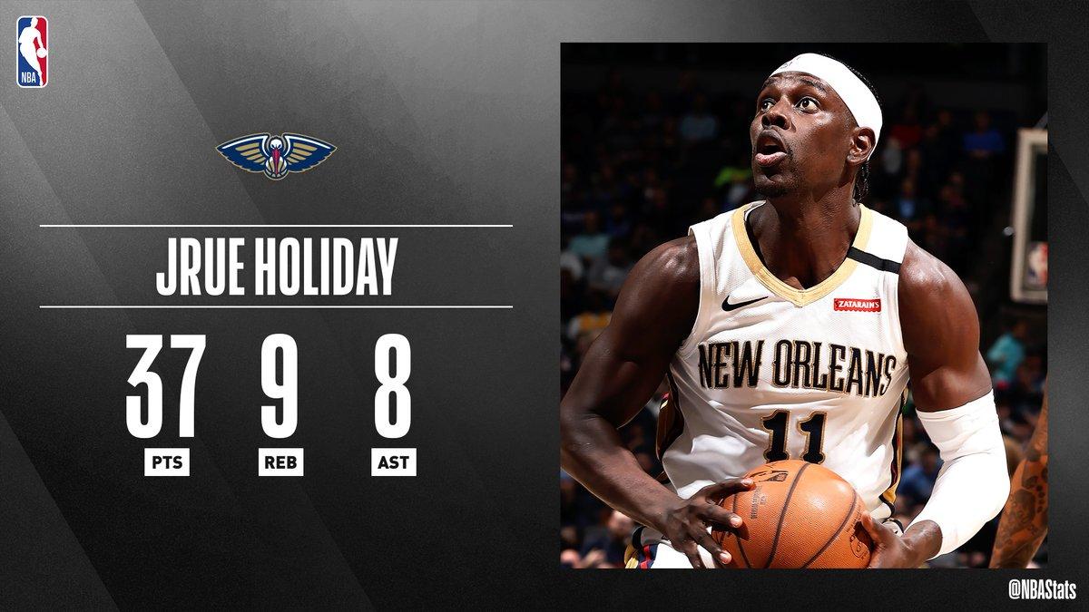 NBA官方评选最佳数据:朱-霍勒迪37分9篮板8助攻当选