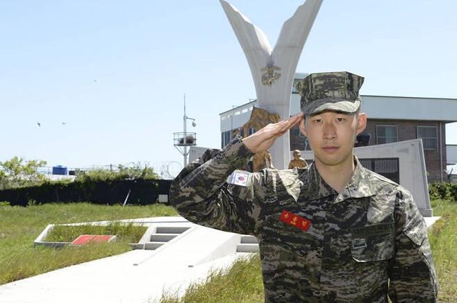 孙兴慜今日完成军事训练,157人中结业成绩排名第1