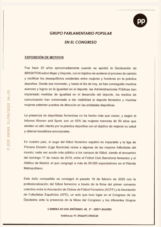 西班牙在野党提议:收回将女足联赛提前结束的决定