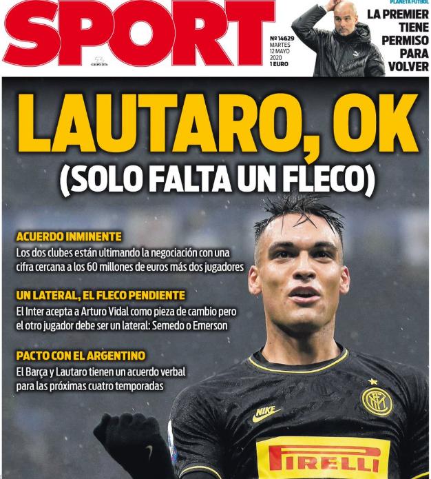 每体头版:劳塔罗转会即将达成协议,6000万欧元+2名球员