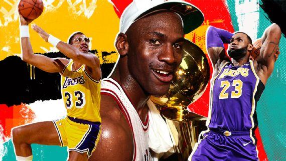 ESPN发布历史前10球员排名:科比第9,詹姆斯第2