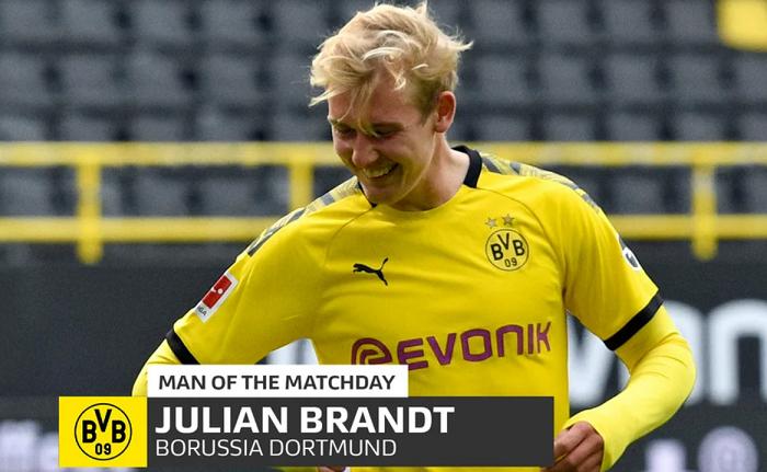 官方:布兰特当选德甲复赛后首轮最佳球员