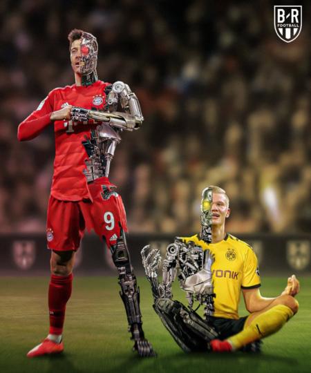 进球机械!B/R海报:哈兰德和莱万上演巅峰对决