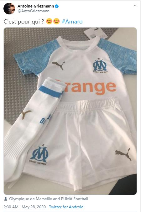 疑似回应转会巴黎传言,格列兹曼推特秀马赛球衣