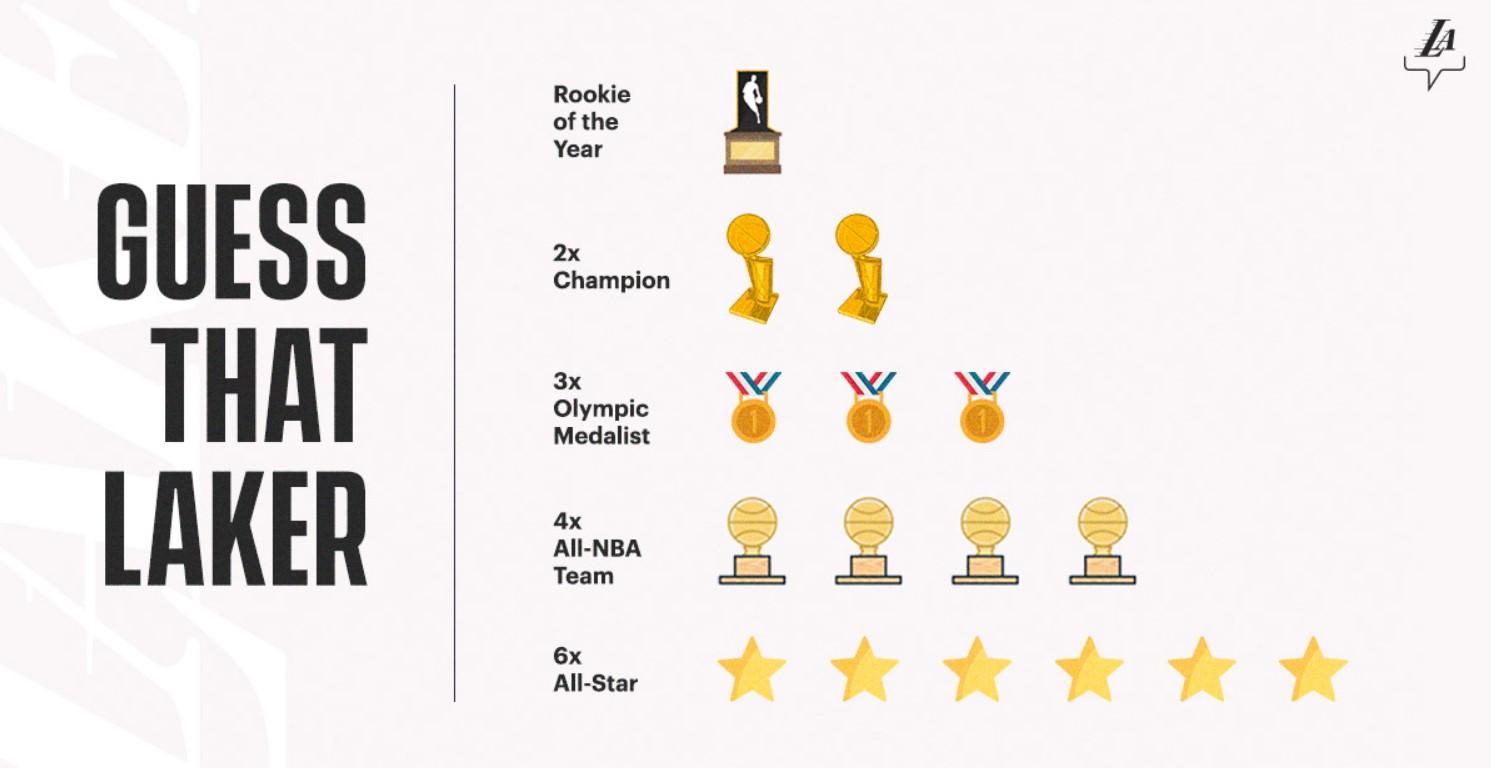 湖人官推邀请球迷们猜球员:2届总冠军,3枚奥运会奖牌
