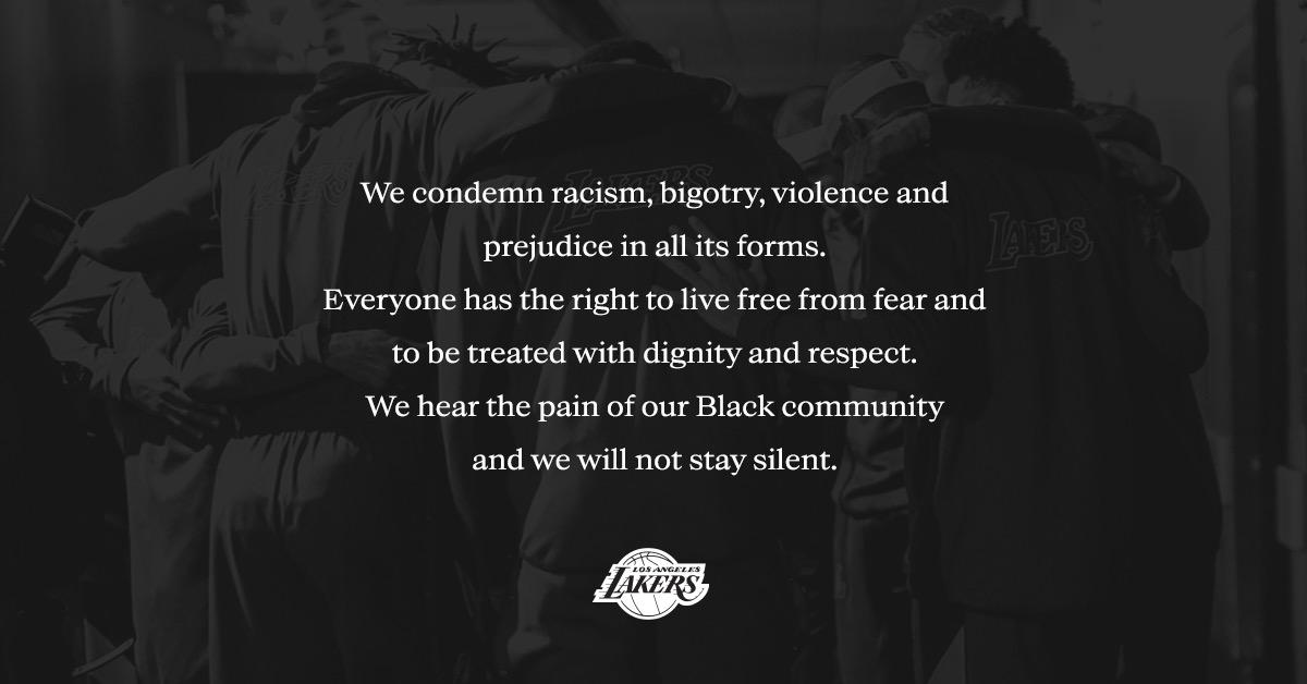 湖人官方声明:我们谴责种族主义,我们不会保持沉默