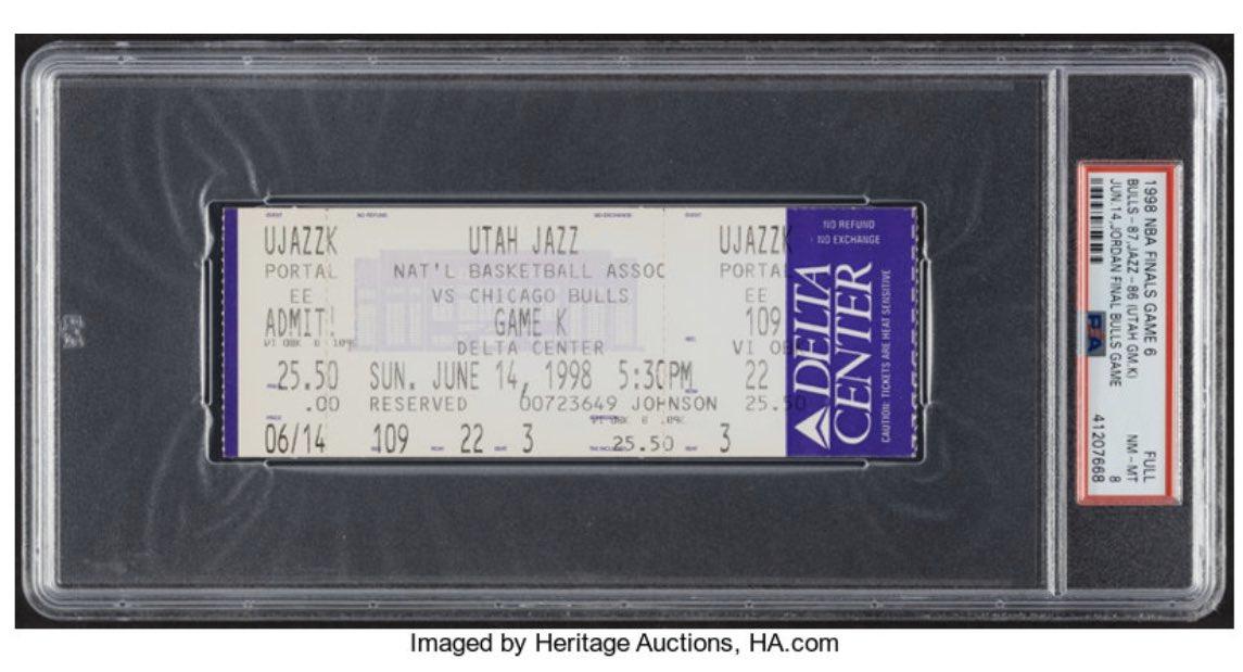 一张98年决赛G6门票以6133美元成交,当年价格25.5美元
