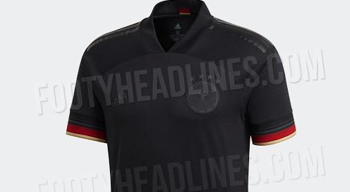 主打绝对黑色,德国队2020欧洲杯客场战袍细节谍照曝光