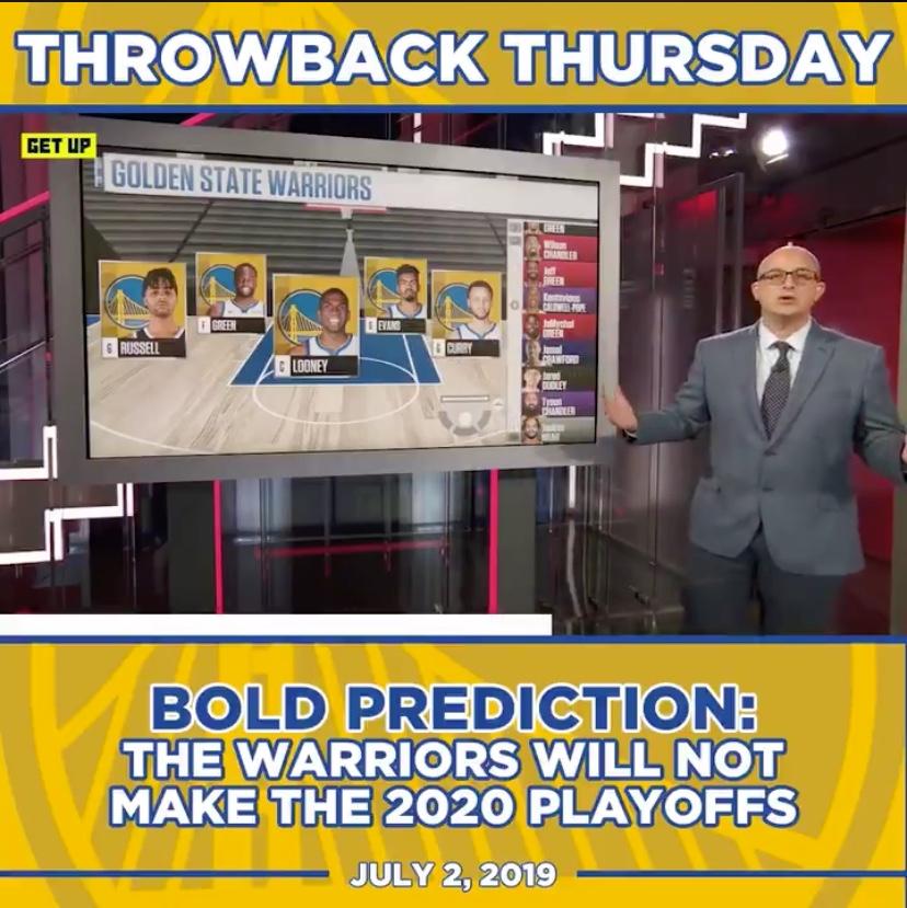 神预言!ESPN记者回顾自己去年7月预测勇士无缘季后赛言论