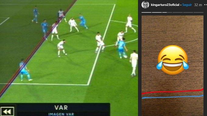瓦伦西亚对皇马进球被取消后,比达尔ins发表情包配两条线