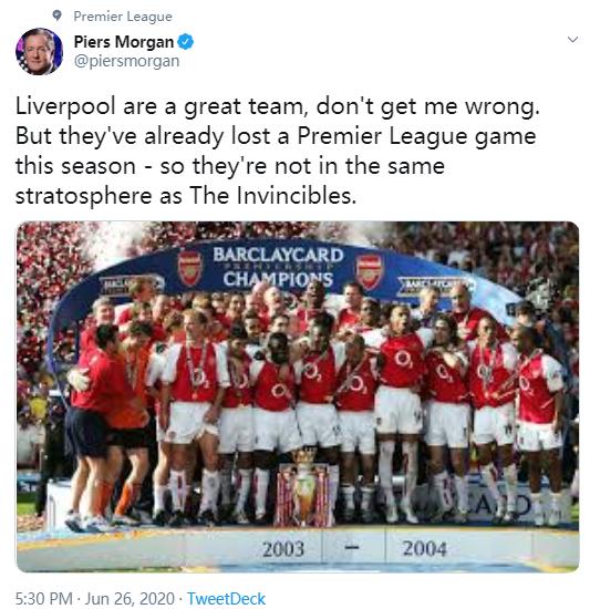 皮尔斯-摩根:利物浦很巨大,但不及03/04赛季的阿森纳