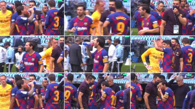 电视台抓拍巴萨替补席场景:梅西连续两次无视助教训话