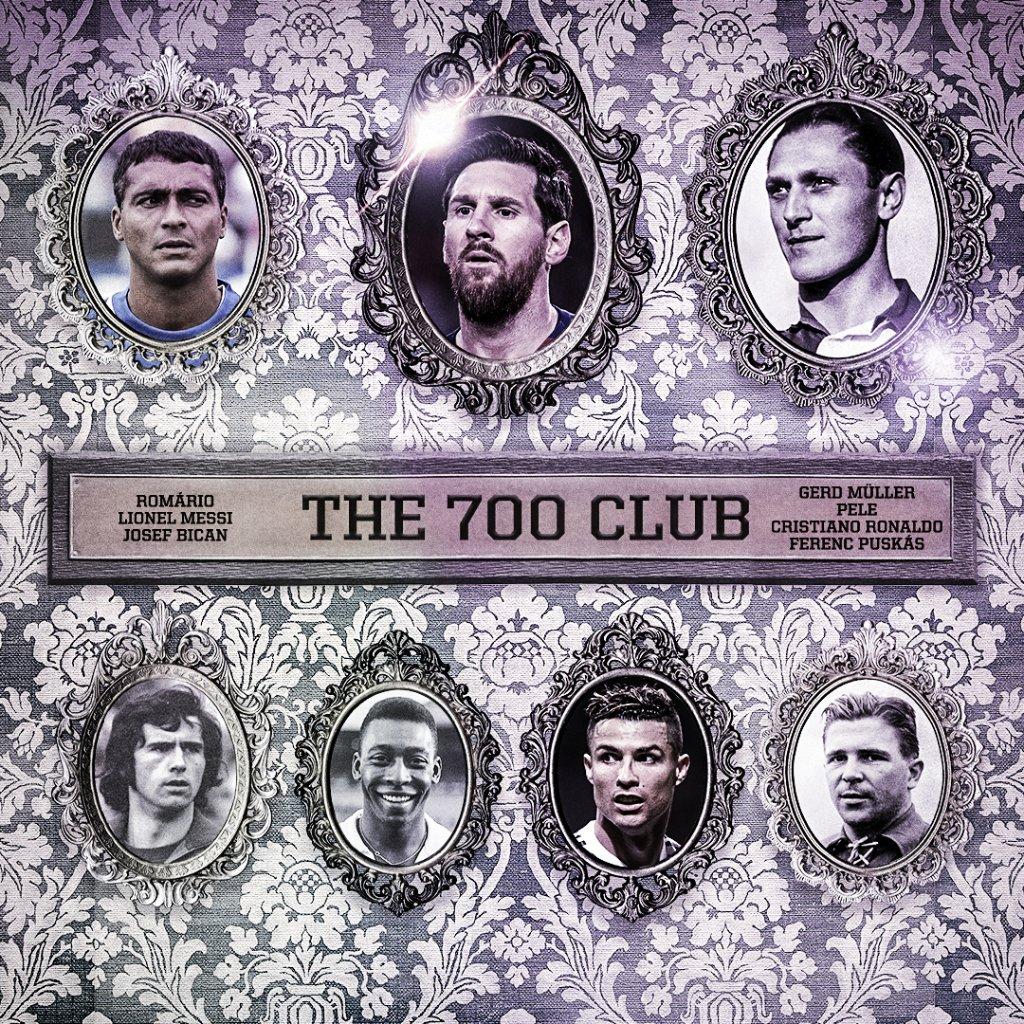 梅西进入职业生涯700球俱乐部,足坛历史第7位,现役第2位