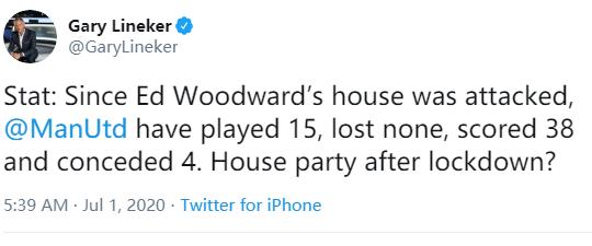莱茵克尔:伍德沃德家被袭后,曼联没输过,这还不庆祝?