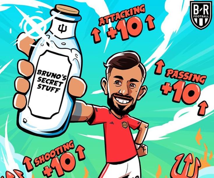 BR趣味海报:B费在场,曼联的射门、传球和进攻值加10点