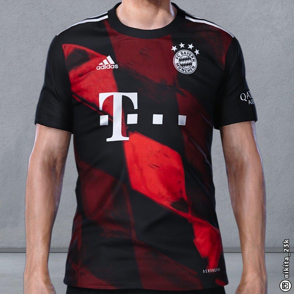 拜仁新赛季第三客场球衣曝光:黑色主调搭配黑红色格纹