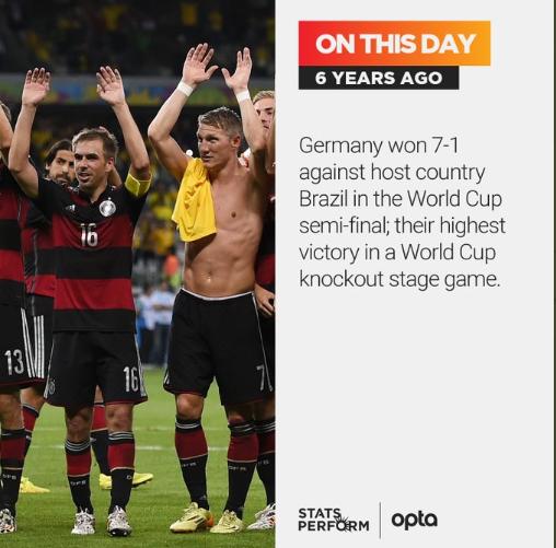 6年前的今天,德国队7-1巴西,创世界杯淘汰赛最大分差