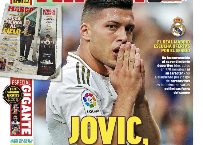 马卡报封面:约维奇体现糟糕争议不断,皇马想卖掉了