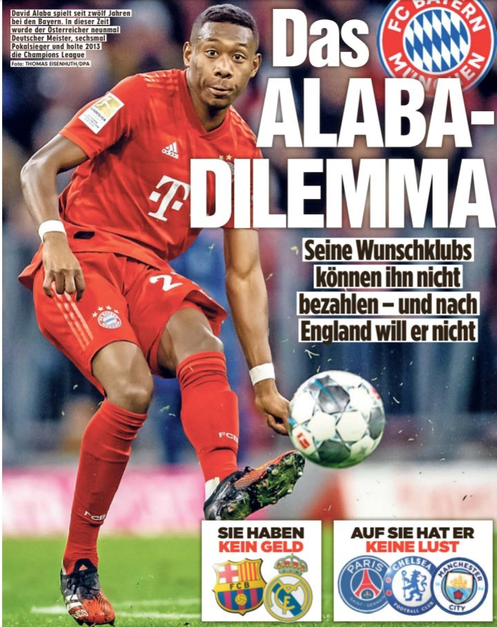图片报:拜仁标价3600万,曼城付得起但阿拉巴不愿去