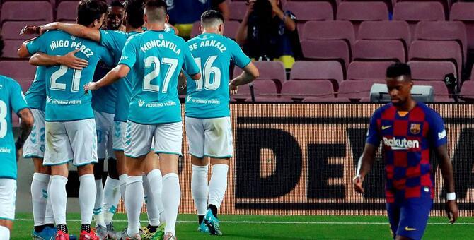 梅西破门难救主苏亚雷斯进球被吹,巴萨1-2奥萨苏纳