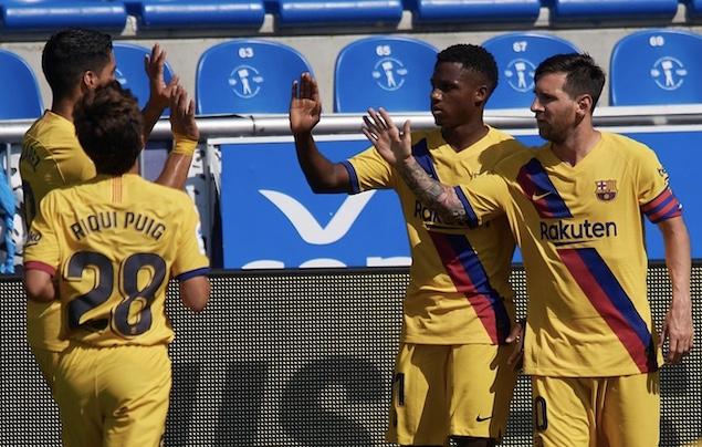 梅西双响法蒂苏亚雷斯塞梅多破门,巴萨客场5-0阿拉维斯