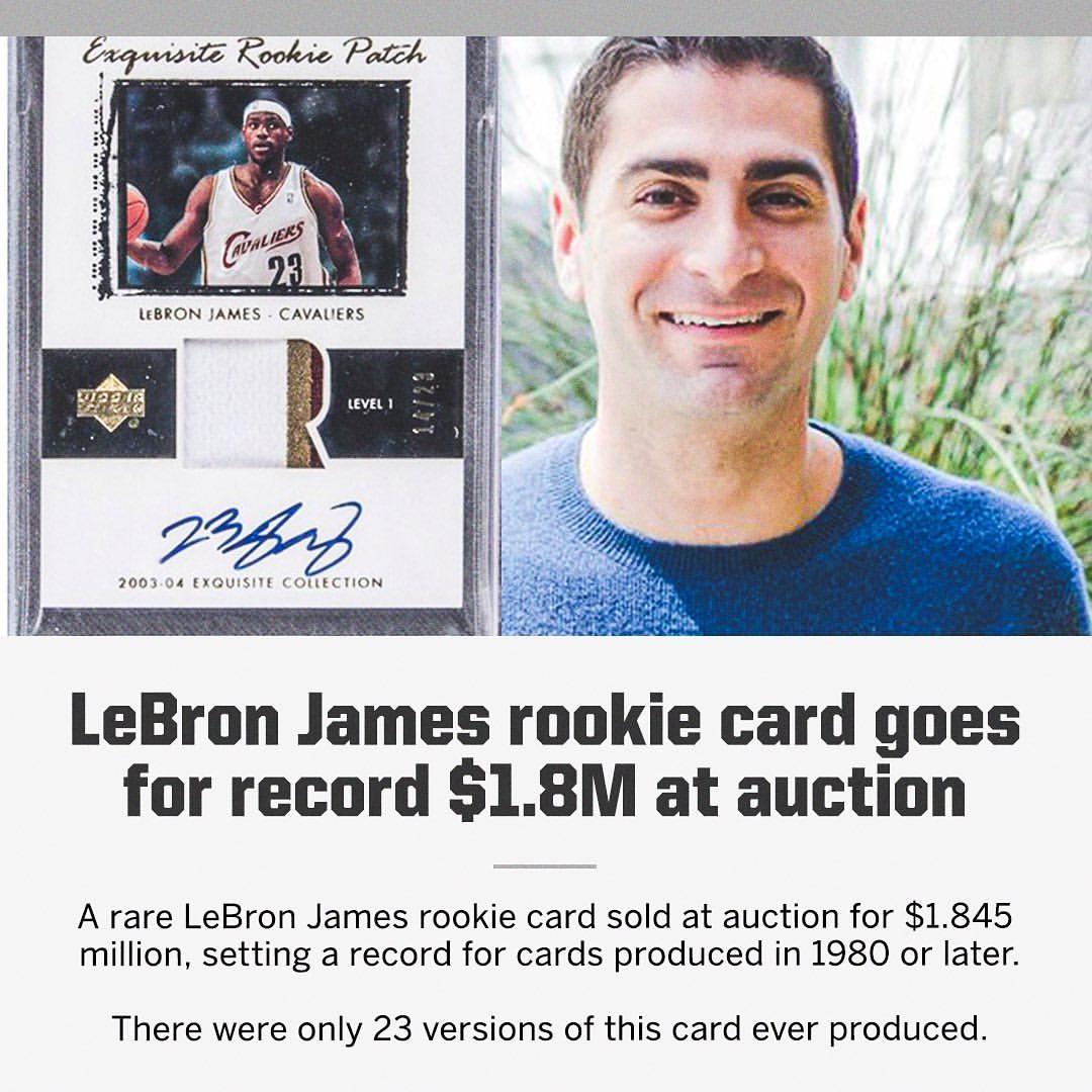 新秀年球星卡售出最高价,詹姆斯:猜猜谁还有同款球星卡