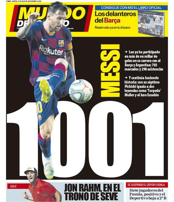 世体封面:703球 298助,梅西职业生涯已累计造1001球