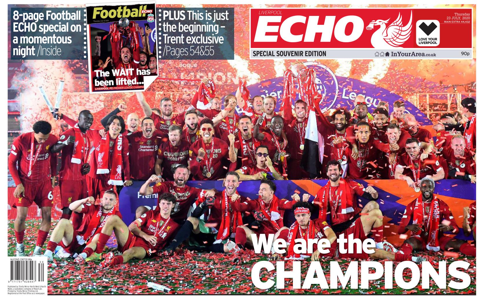 回声报头版:30年梦终如愿中国竞彩网比分直播,利物浦是冠军!