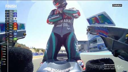 摩托GP20岁新星夸塔罗横空出世,赛后做姆巴佩标志行动