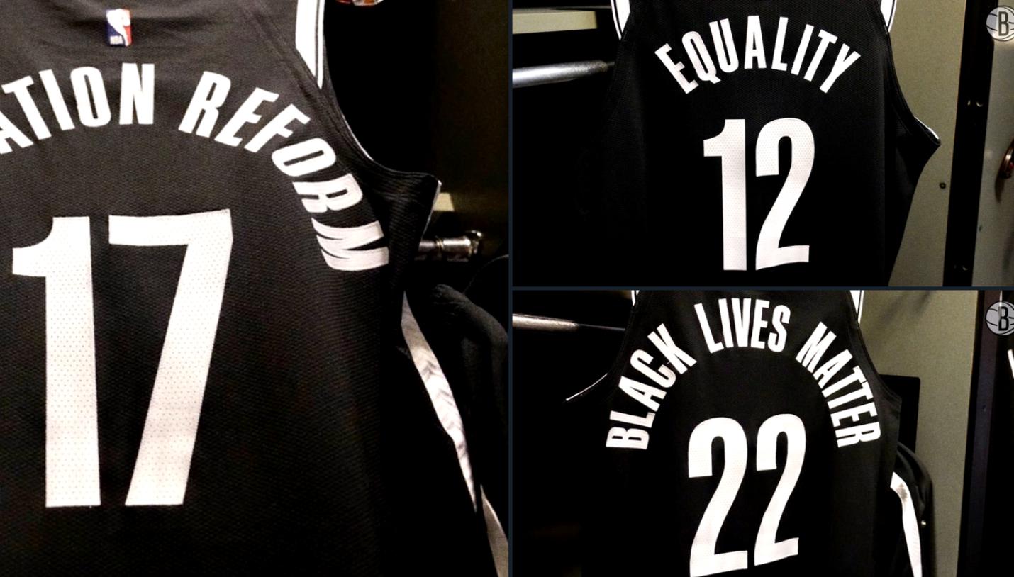 呼吁社会正义!篮网官方晒球员展示在球衣背后的标语