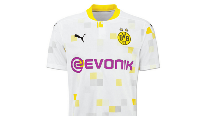 多特正式发布新赛季杯赛球衣:白底搭配黄色颗粒