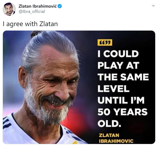 伊布晒图'伊布表示自己能踢到50岁':我同意兹拉坦的观点