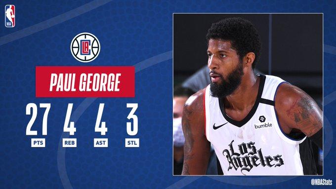 NBA官方评选最佳数据:乔治27分4板4助3断当选