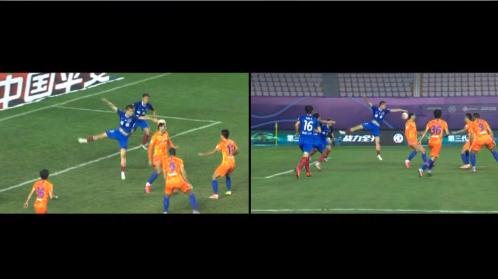 GIF:张文涛手球裁判看VAR认定,佩莱点球被吴䶮扑出