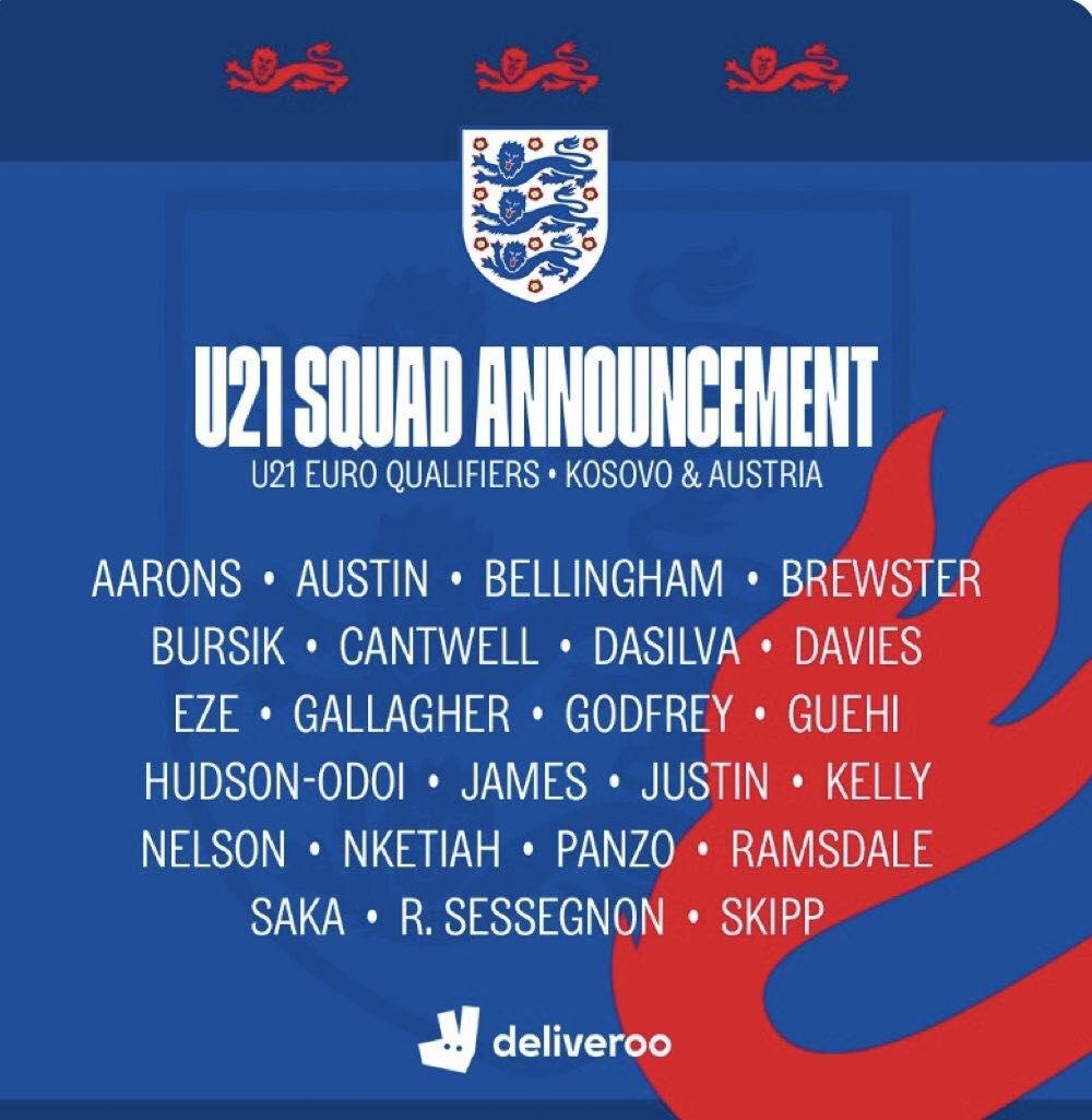 英格兰U21大名单:贝林汉姆首次入选,伦敦三强多人在列