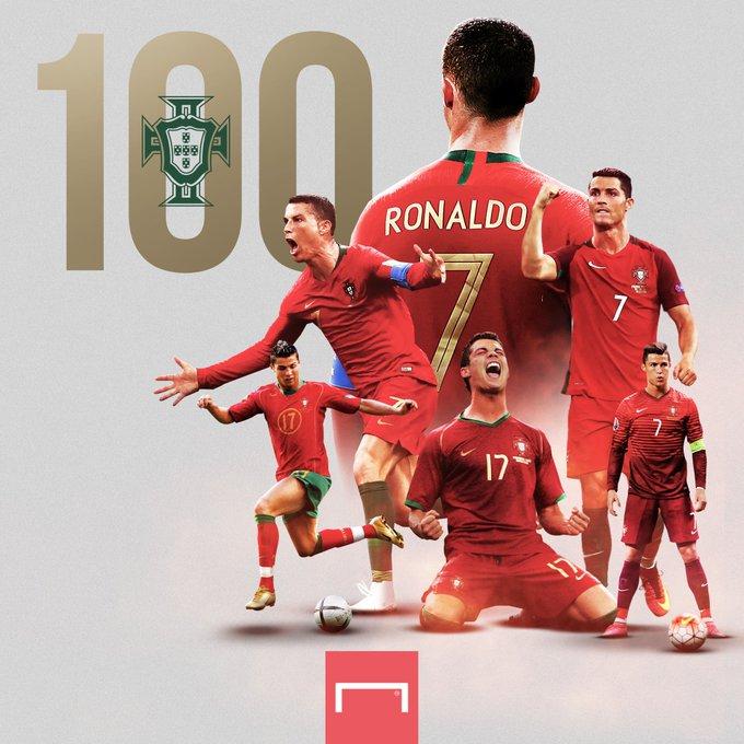 书写历史!C罗打入国家队第100球,成欧洲足坛第一人