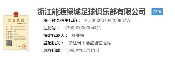 浙能集团入股,绿城俱乐部正式更名为浙江能源绿城俱乐部 第2张
