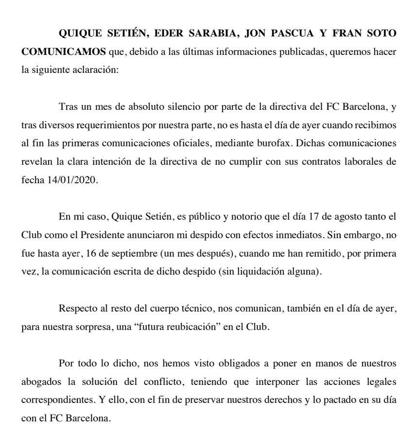 塞蒂恩团队声明:将通过法律手段解决和巴萨合同争端 第1张