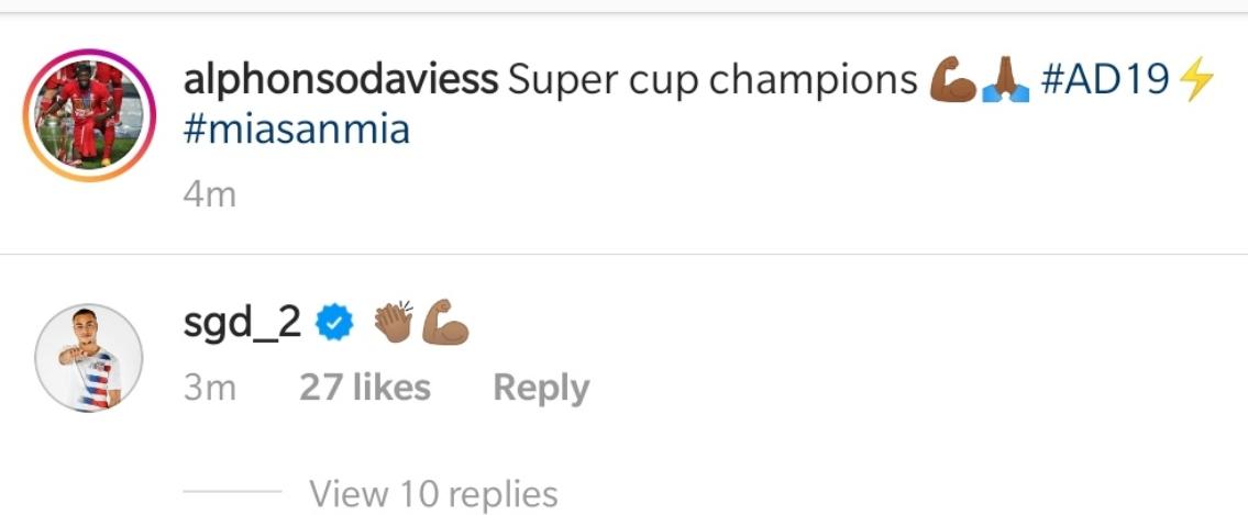 自己仁?戴斯特为拜仁超级杯夺冠点赞留言
