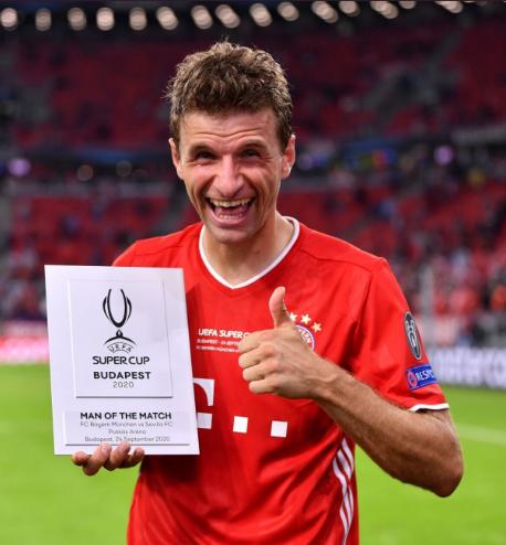 官方:托马斯-穆勒当选欧洲超级杯全场最佳球员