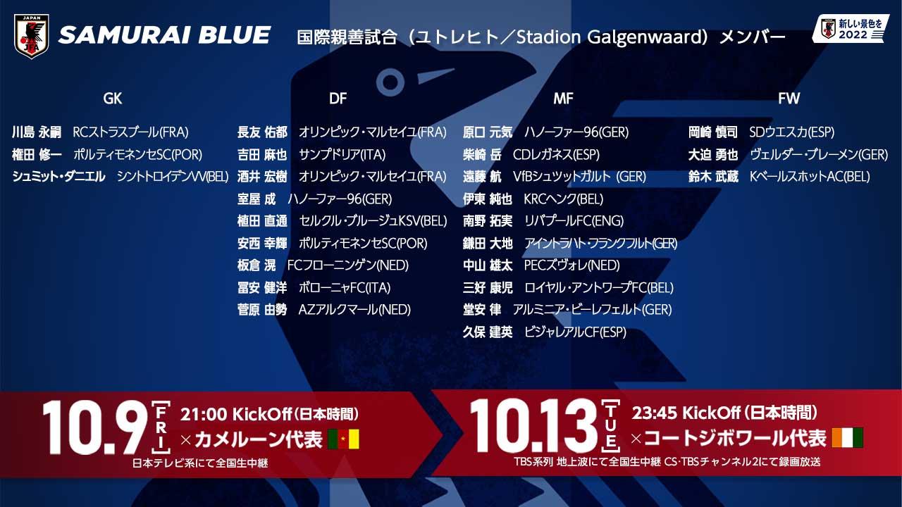 日本队公布友谊赛大名单,25人全部为旅欧球员