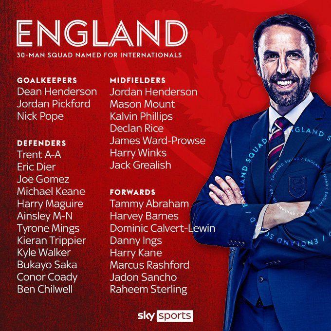 英格兰大名单:凯恩领衔,萨卡、巴恩斯、勒温首次入选